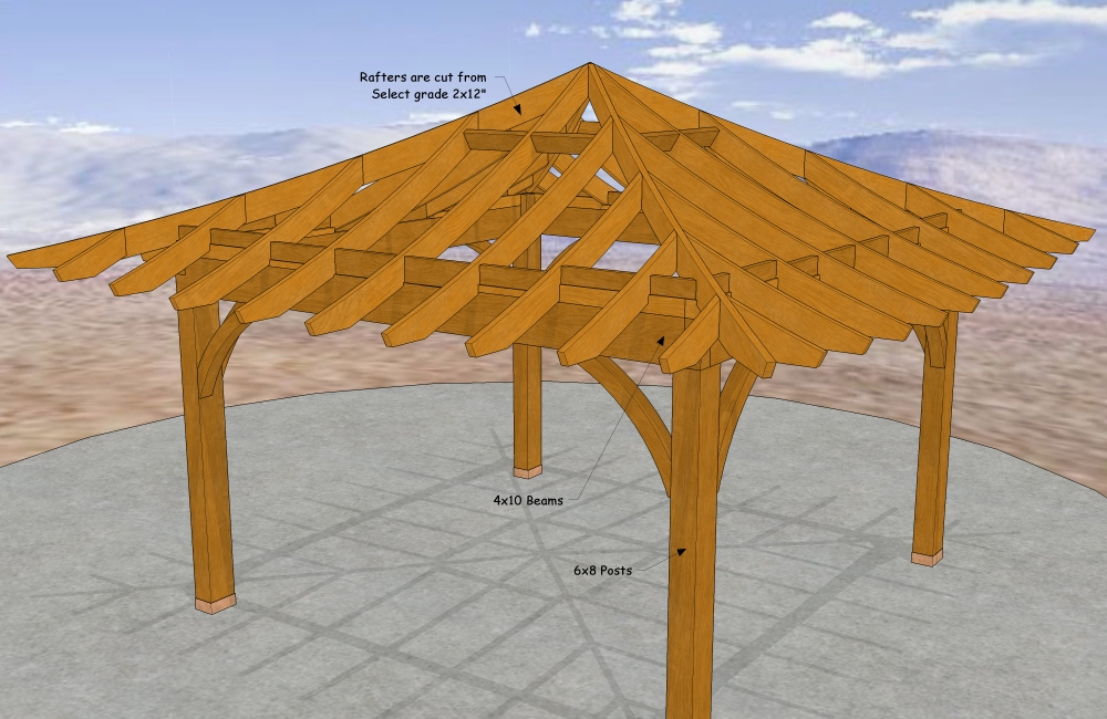 12' x 12' Draped Roof, one of my newest Designs. Available in Metric as a 3.66m x 3.66m.