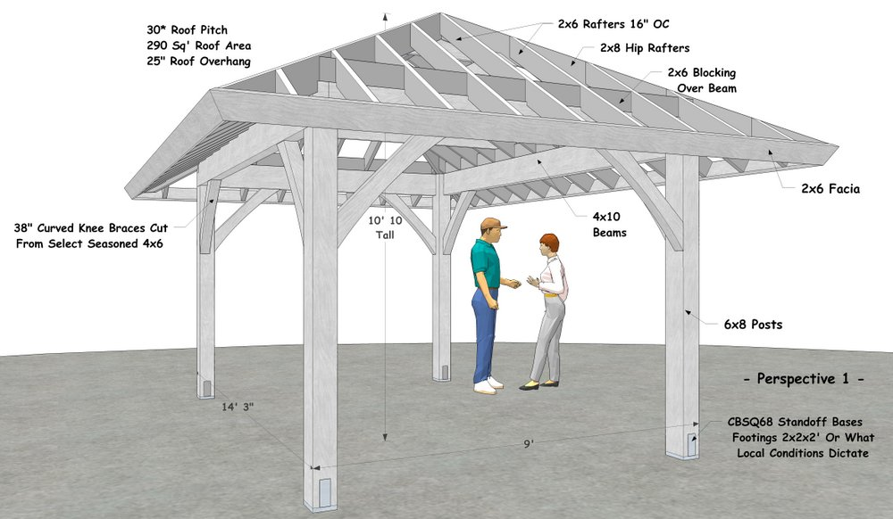 "9' x 14' 3"" Hip Roof Pavilion"
