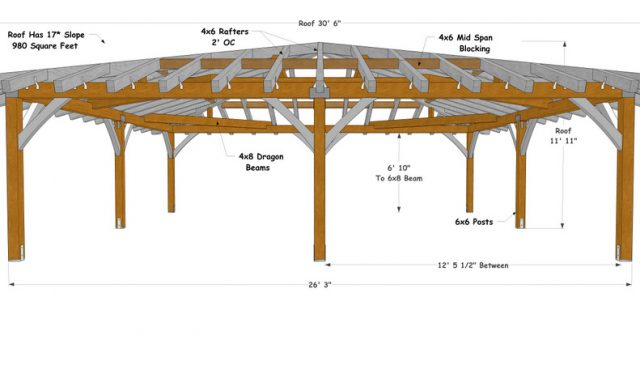 """26' 3"""" Square Hip Roof, Heavy Timber Construction Meets California Wildfire Code"""