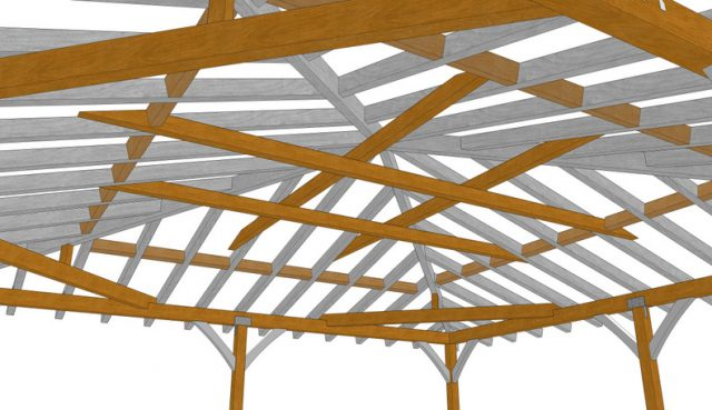 "26' 3"" Square Hip Roof, Heavy Timber Construction Meets California Wildfire Code"