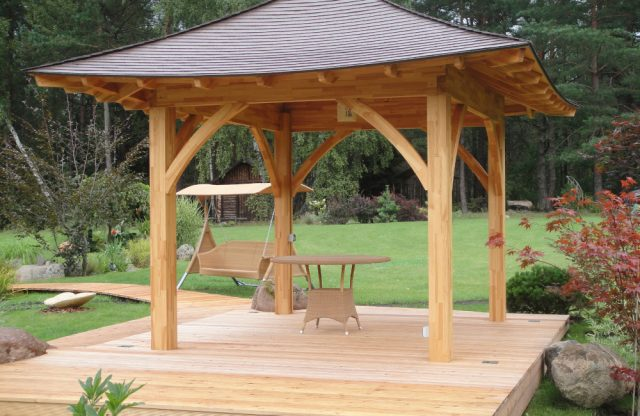 """This Draped Roof Pavilion has walls 10' 7"""" x 8' 7"""", with 2' 4"""" roof overhang. Also available in Metric as 2.62m x 3.23m, with .7m roof overhang."""