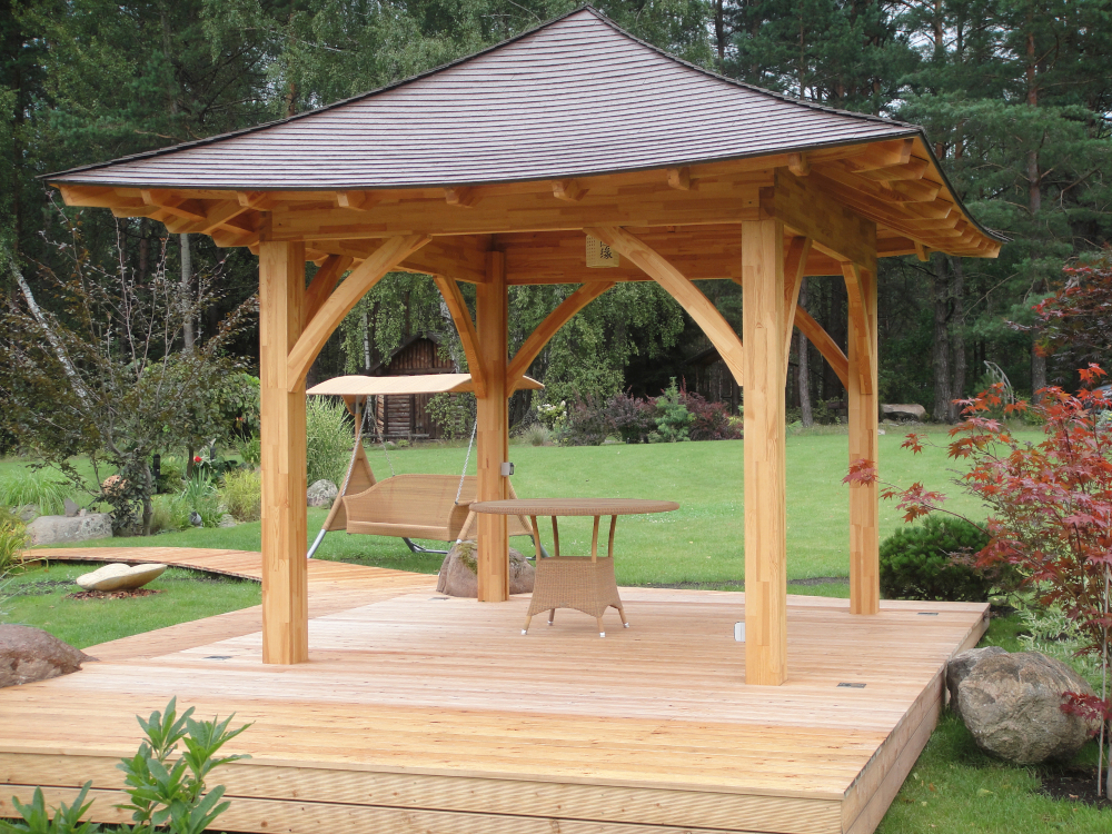 "This Draped Roof Pavilion has walls 10' 7"" x 8' 7"", with 2' 4"" roof overhang. Also available in Metric as 2.62m x 3.23m, with .7m roof overhang."