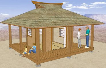 This 10' x 10' Azumaya has a 5' 9' roof overhang, and 4' wide deck / engawa around all 4 sides. The Inner walls measure 10' square and the outer walls 18'.  * Our Plans include complete Details for the Roof, Posts and Beams, and surrounding Engawa / Deck framing.  We don't supply any Interior or Exterior Wall Details, or Plans for the Windows, Doors,  Etc.  shown in these CAD Images.