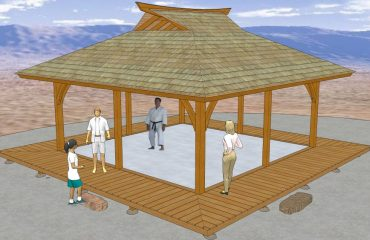 20' x 20' Dojo Plan with Sprung Floor Details, and surrounding deck/engawa.