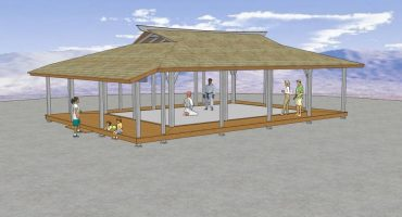 This is our 20' x 30' Azumaya with wide roof overhang and surrounding deck/engawa, here shown as a Dojo with a Sprung floor. Additional lateral bracing will probably be required for this size of azumaya, usually incorporated in to the walls, putting the posts into the ground, adding knee braces Etc.