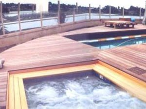 Large, curved wooden deck built around lap pool and spa