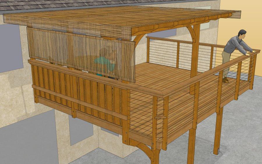 Custom wooden deck design rendering