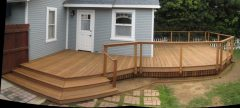 Wide angle shot of completed new deck