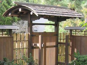 Inverted Roof Japanese garden gate