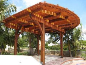 Curved wooden patio shade cover