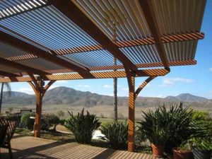 Patio cover in Jamul, CA with adjustable shade louvers