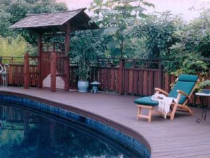 Japanese style poolside deck