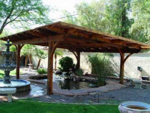 Garden koi pond wooden shade cover structure