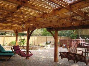 Beautiful wood and bamboo patio shade cover built in the San Diego area
