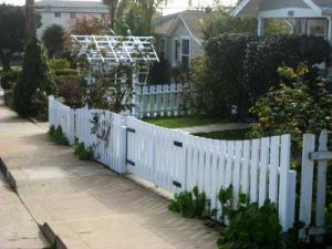 Picket fence and arbor