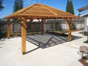 Wooden shade pavilion