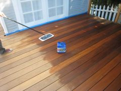 Finishing the wood on new deck