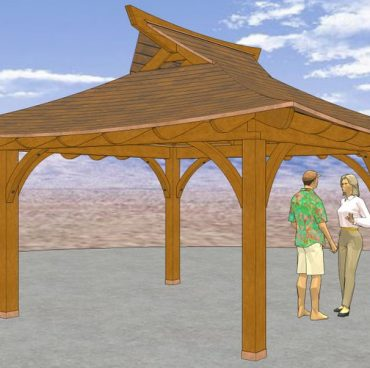 This 10' x 10' Azumaya has a 5' 9' roof overhang, and 4' wide deck / engawa around all 4 sides. The Inner walls measure 10' square and the outer walls 18'.* Our Plans include complete Details for the Roof, Posts and Beams, and surrounding Engawa / Deck framing.We don't supply any Interior or Exterior Wall Details, or Plans for the Windows, Doors,  Etc.shown in these CAD Images.